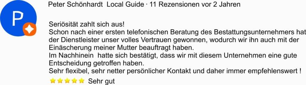 Google Bewertung für Feuerbestattungen24.de