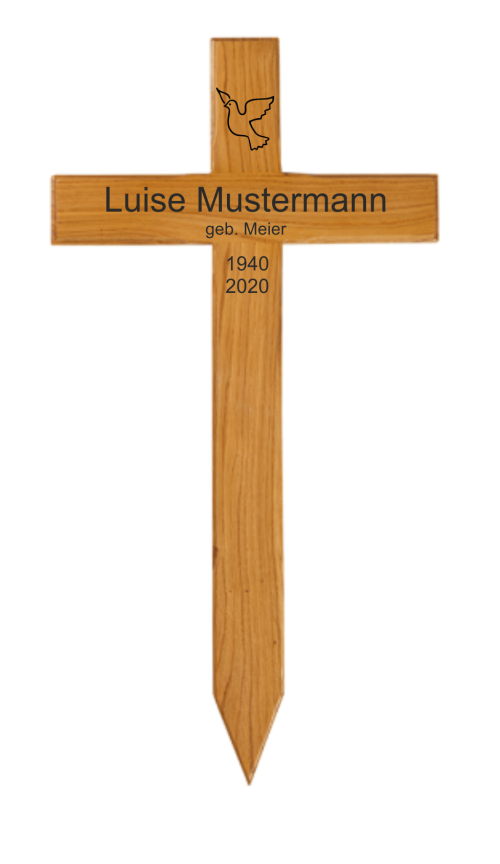 Holzkreuz mit Text und Taube